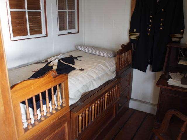 The captain maintained posh living arrangements on the upper deck. His rooms included a private pantry, space for dining, and an actual bed. The whole area was bigger than my first apartment.